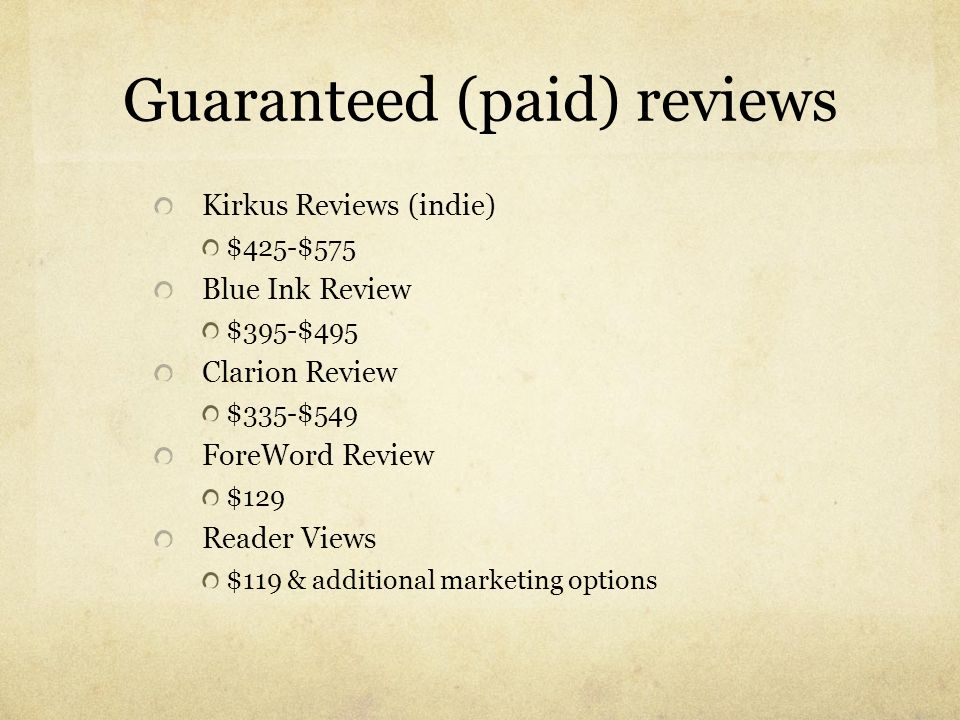 Guaranteed (paid) reviews
