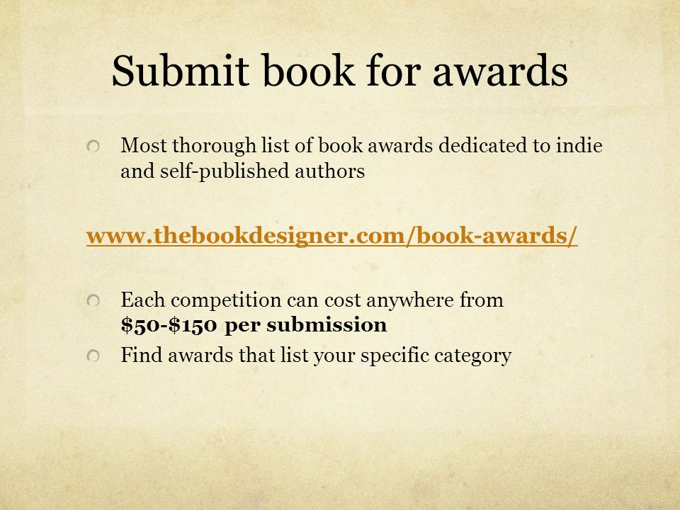Submit book for awards