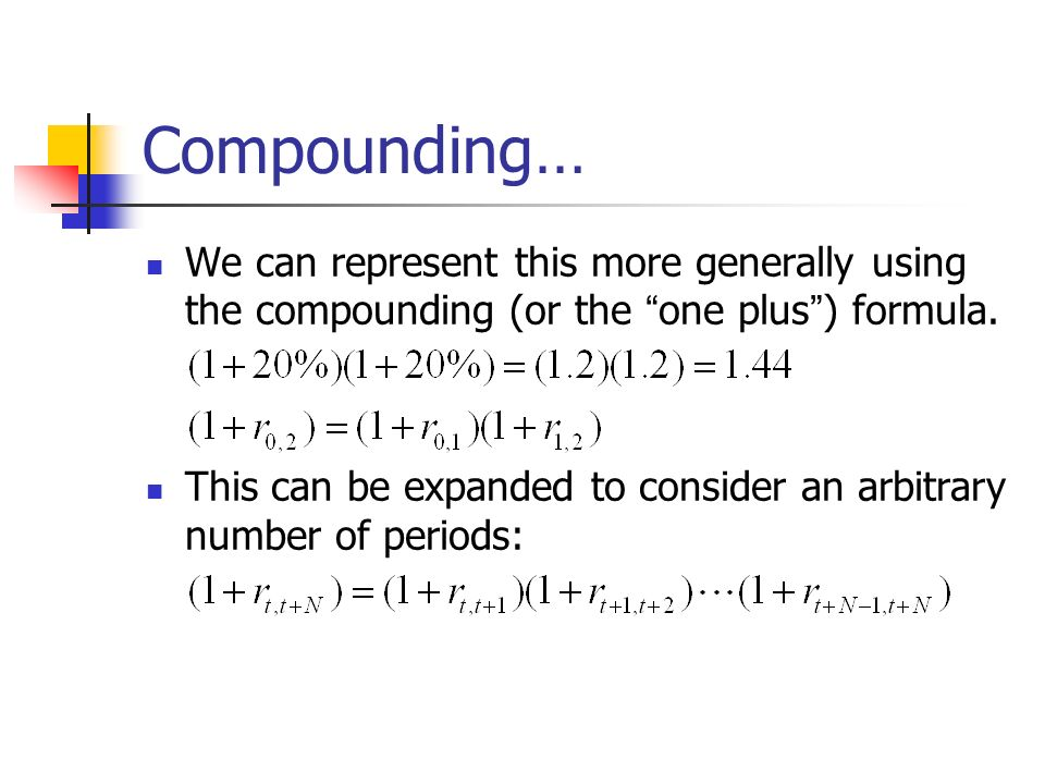 Compounding… We can represent this more generally using the compounding (or the one plus ) formula.