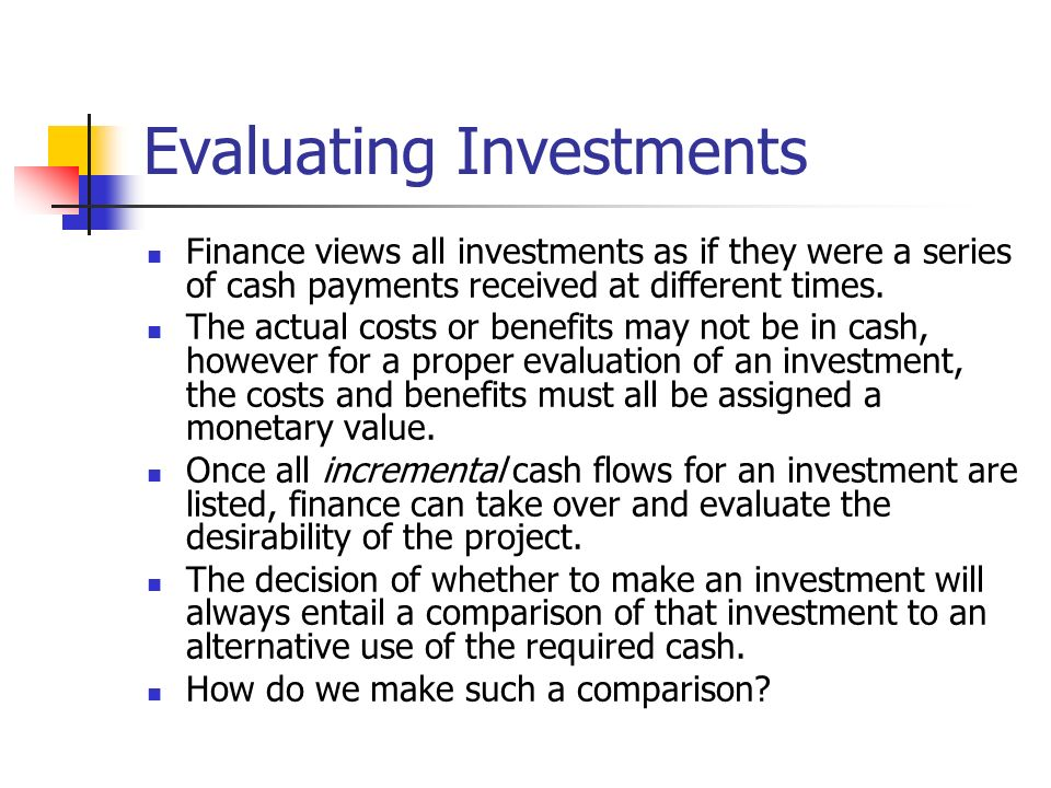 Evaluating Investments