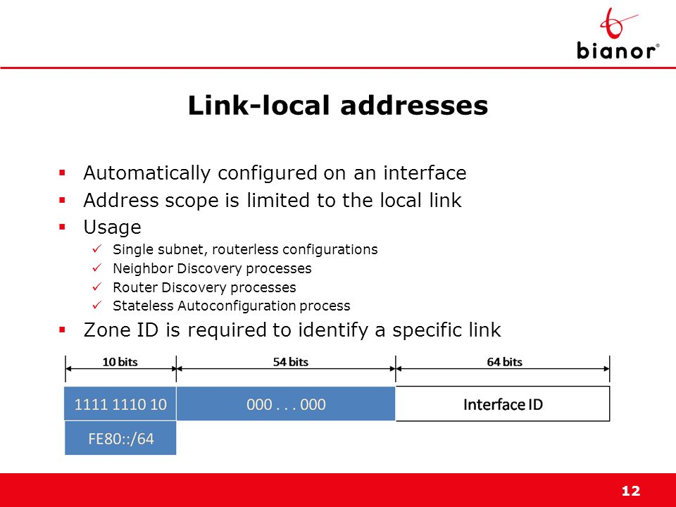 Link-local addresses Automatically configured on an interface