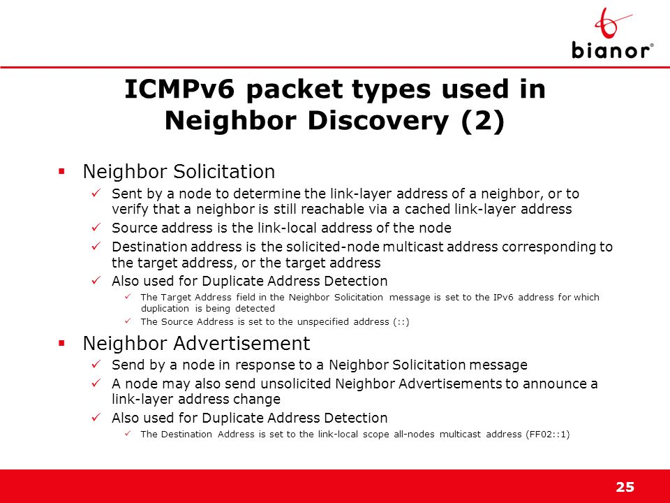 ICMPv6 packet types used in Neighbor Discovery (2)