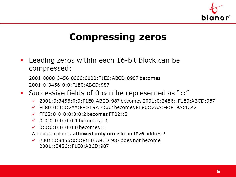 Compressing zeros Leading zeros within each 16-bit block can be compressed: 2001:0000:3456:0000:0000:F1E0:ABCD:0987 becomes.