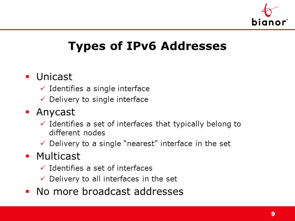 Types of IPv6 Addresses Unicast Anycast Multicast