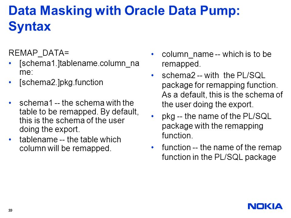 Data Masking with Oracle Data Pump: Syntax