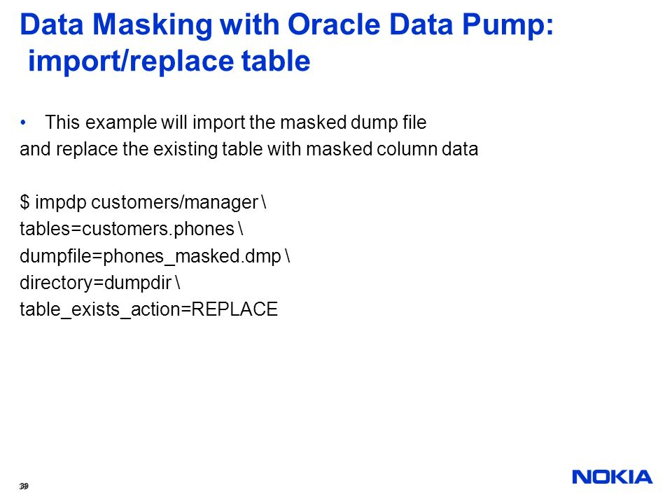 Data Masking with Oracle Data Pump: import/replace table