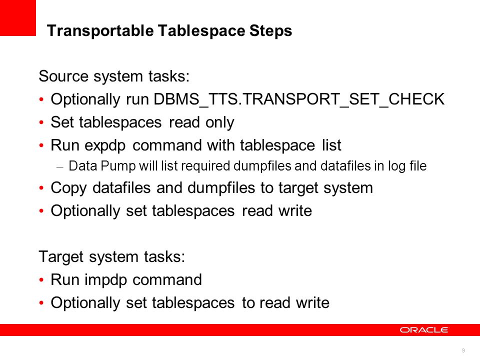 Transportable Tablespace Steps