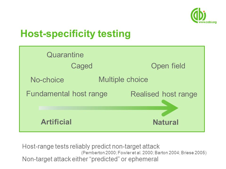 Host-specificity testing