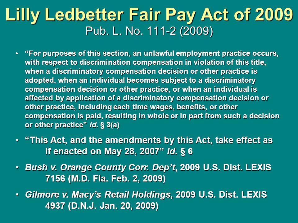lilly ledbetter fair pay act summary