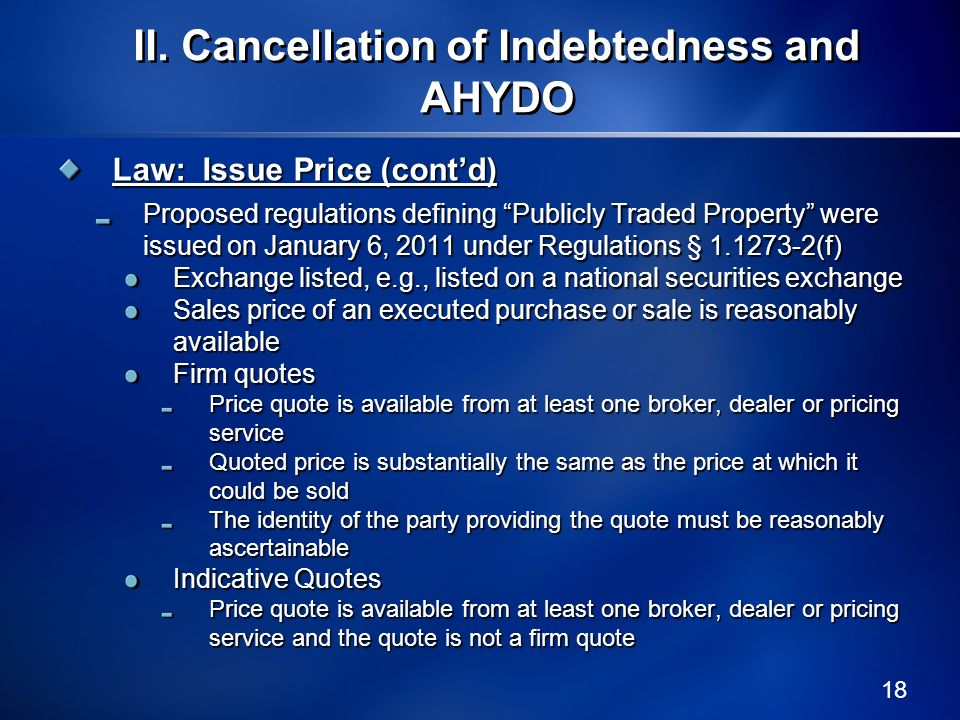 II. Cancellation of Indebtedness and AHYDO