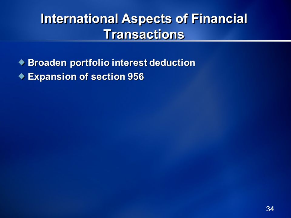 International Aspects of Financial Transactions