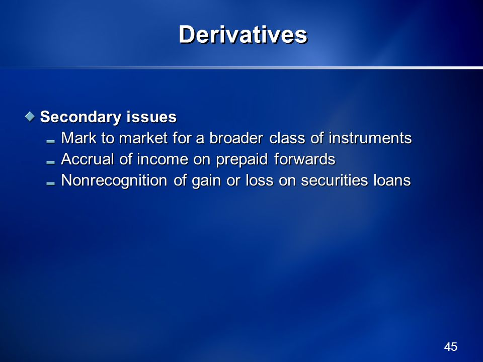 Derivatives Secondary issues