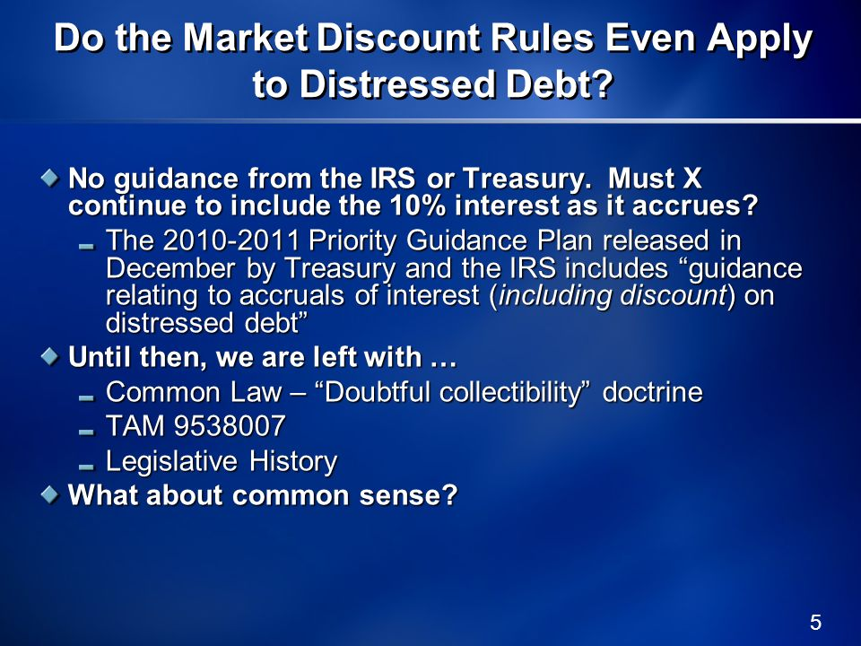 Do the Market Discount Rules Even Apply to Distressed Debt