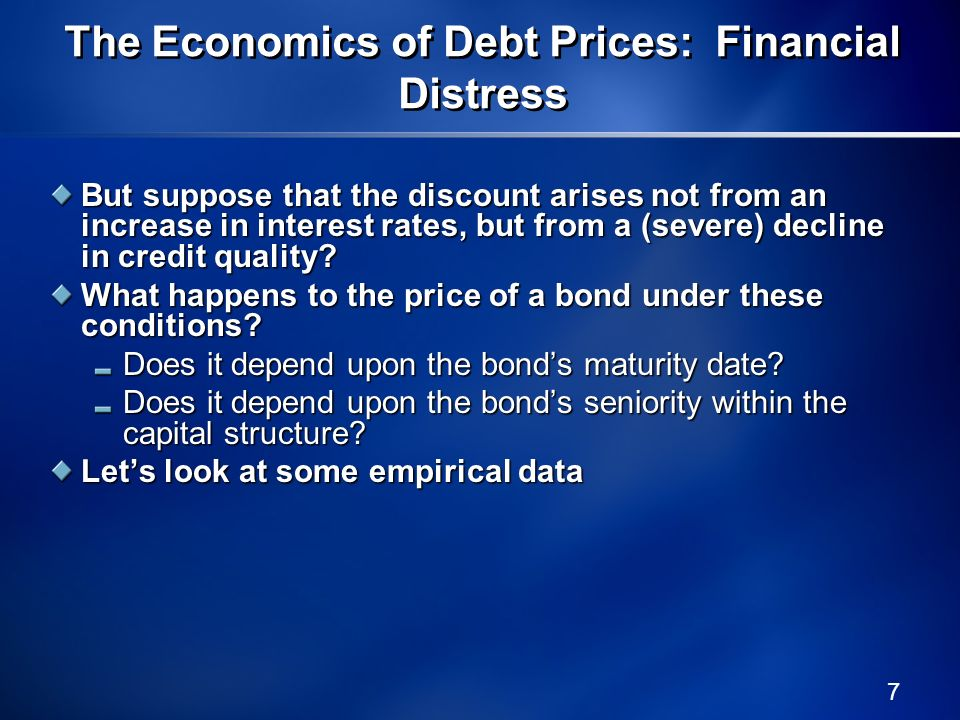The Economics of Debt Prices: Financial Distress