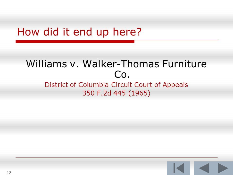 How did it end up here Williams v. Walker-Thomas Furniture Co.