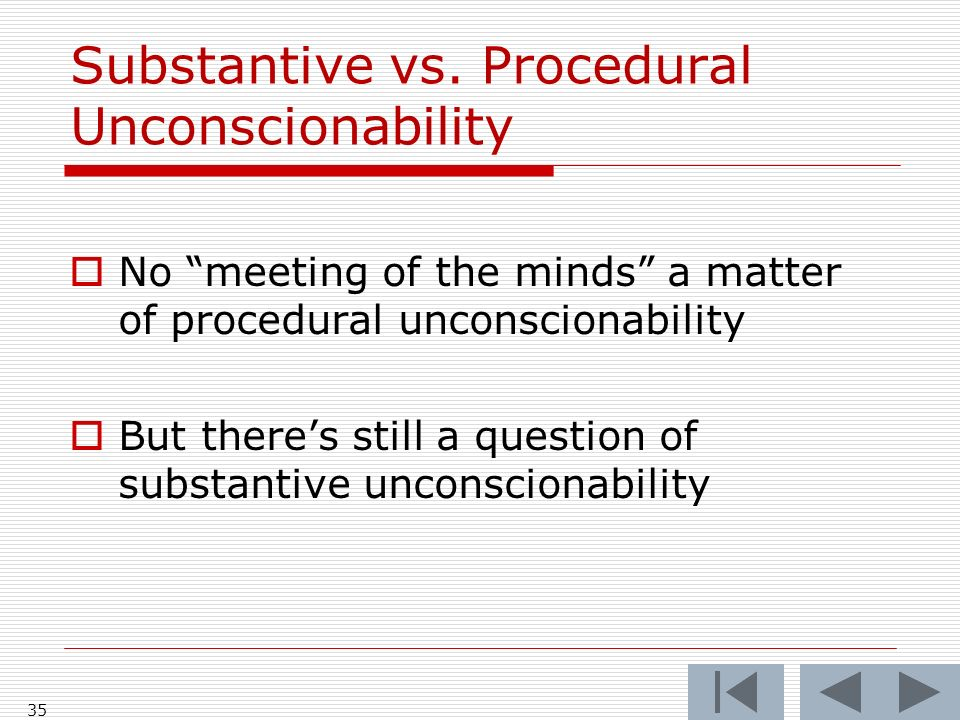 Substantive vs. Procedural Unconscionability