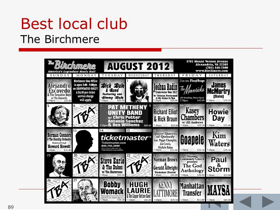 Best local club The Birchmere