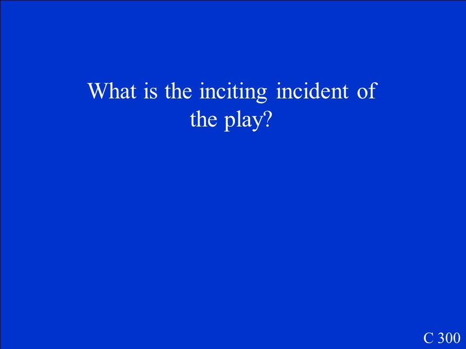What is the inciting incident of the play