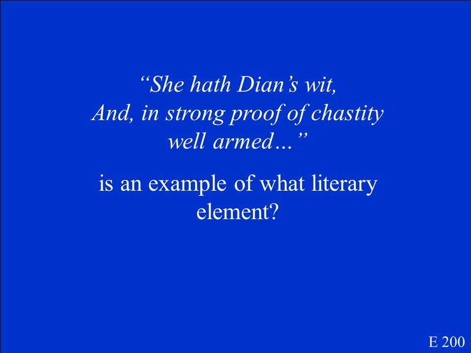 She hath Dian's wit, And, in strong proof of chastity well armed…