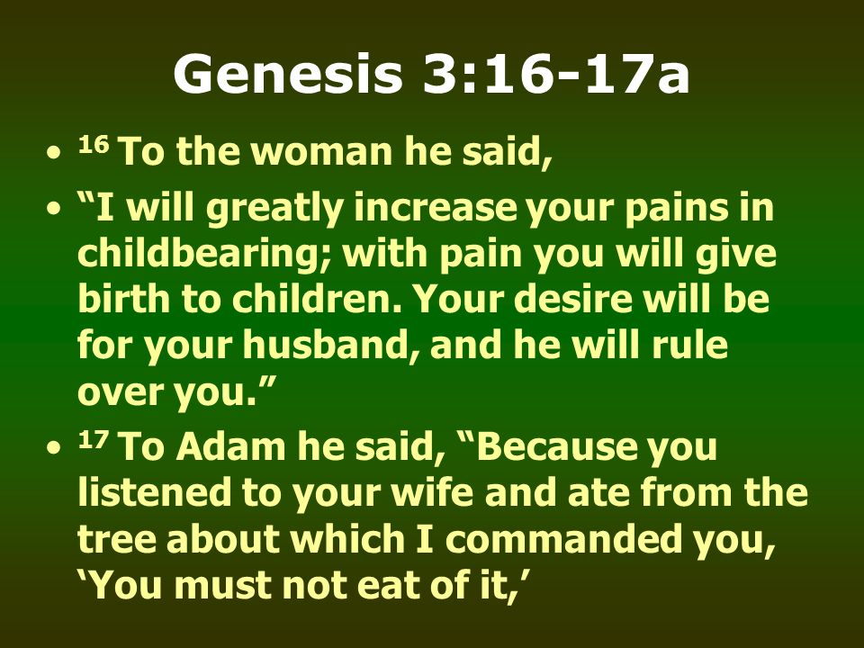 Genesis 3:16-17a 16 To the woman he said,
