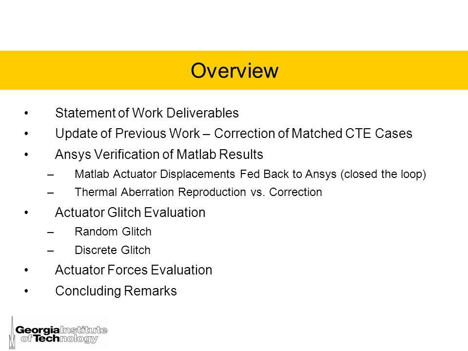 Overview Statement of Work Deliverables