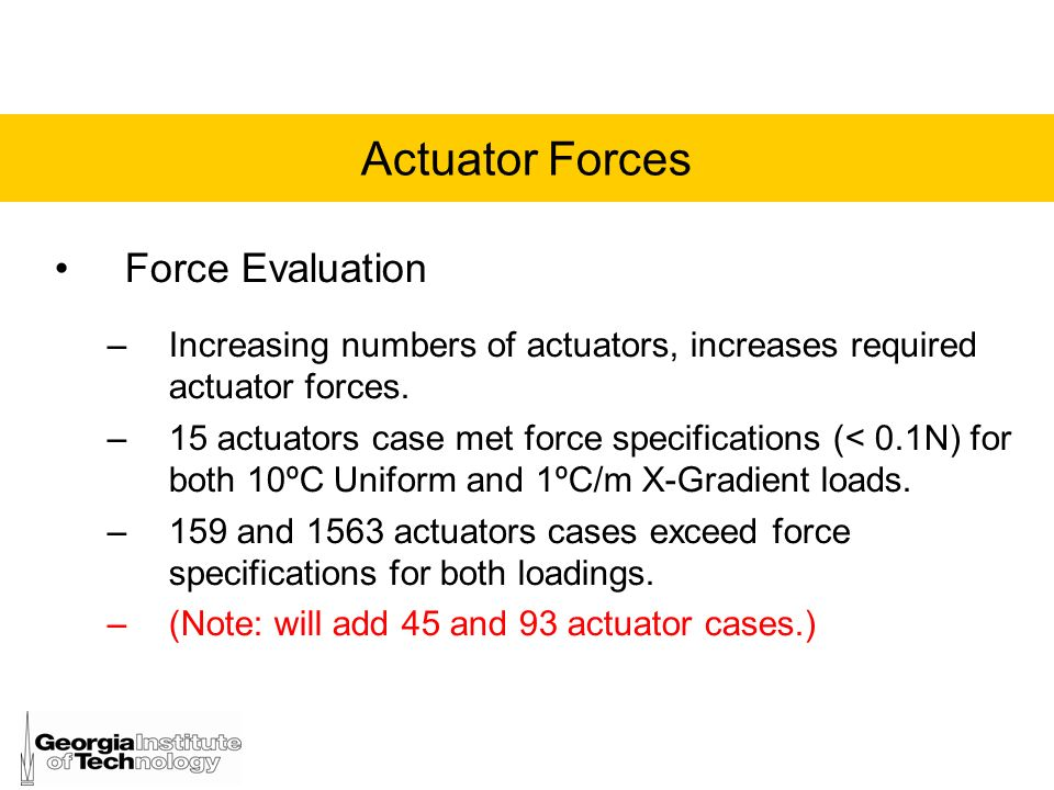 Actuator Forces Force Evaluation