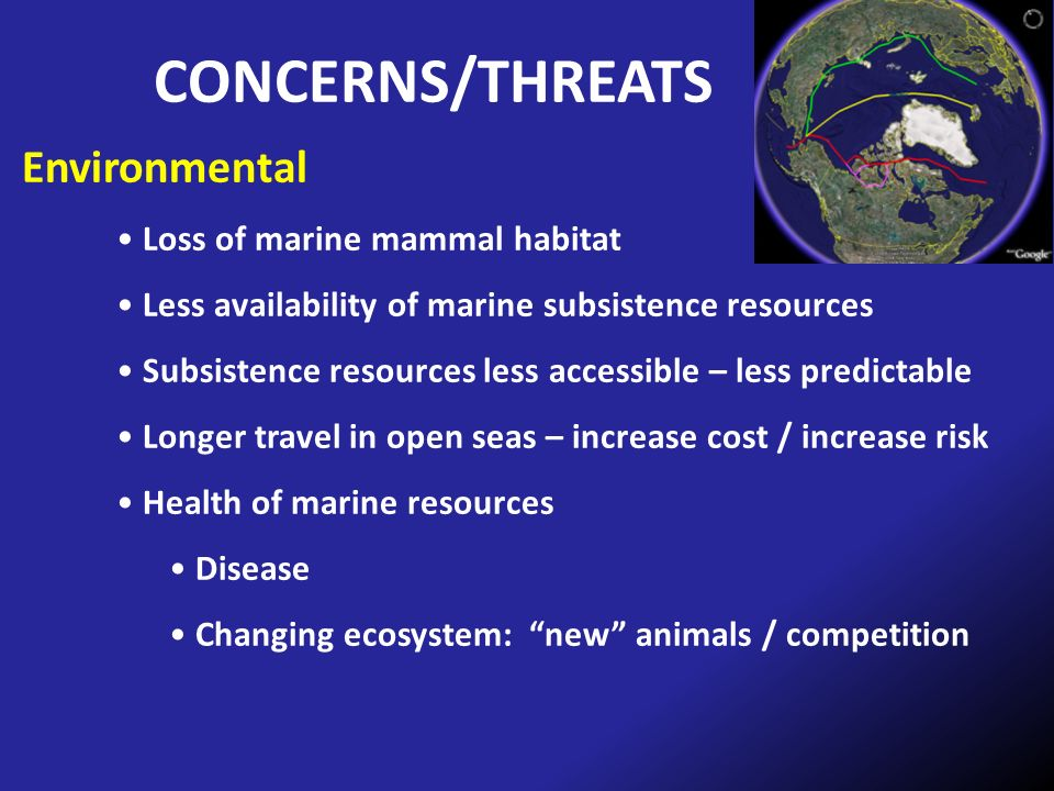 CONCERNS/THREATS Environmental Loss of marine mammal habitat