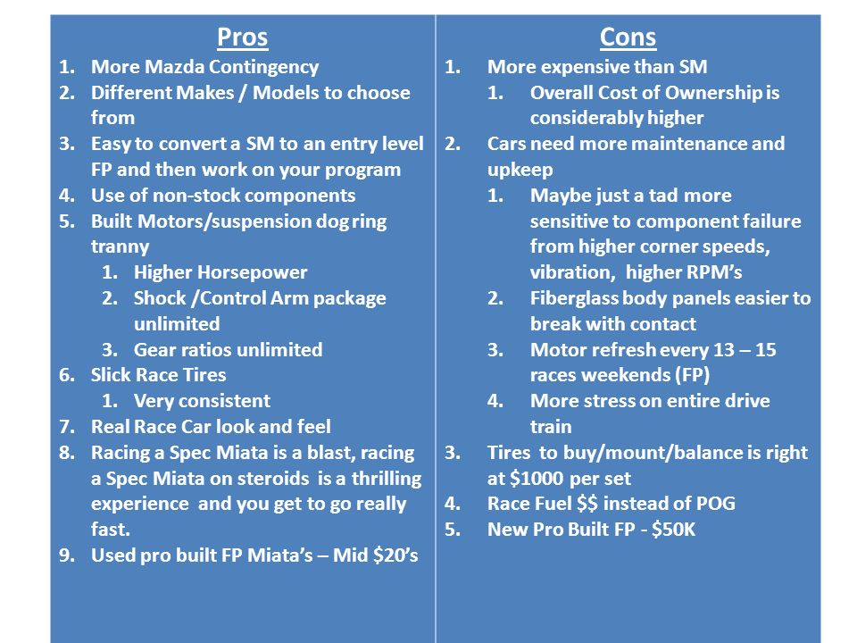 Pros and Cons Pros Cons More Mazda Contingency