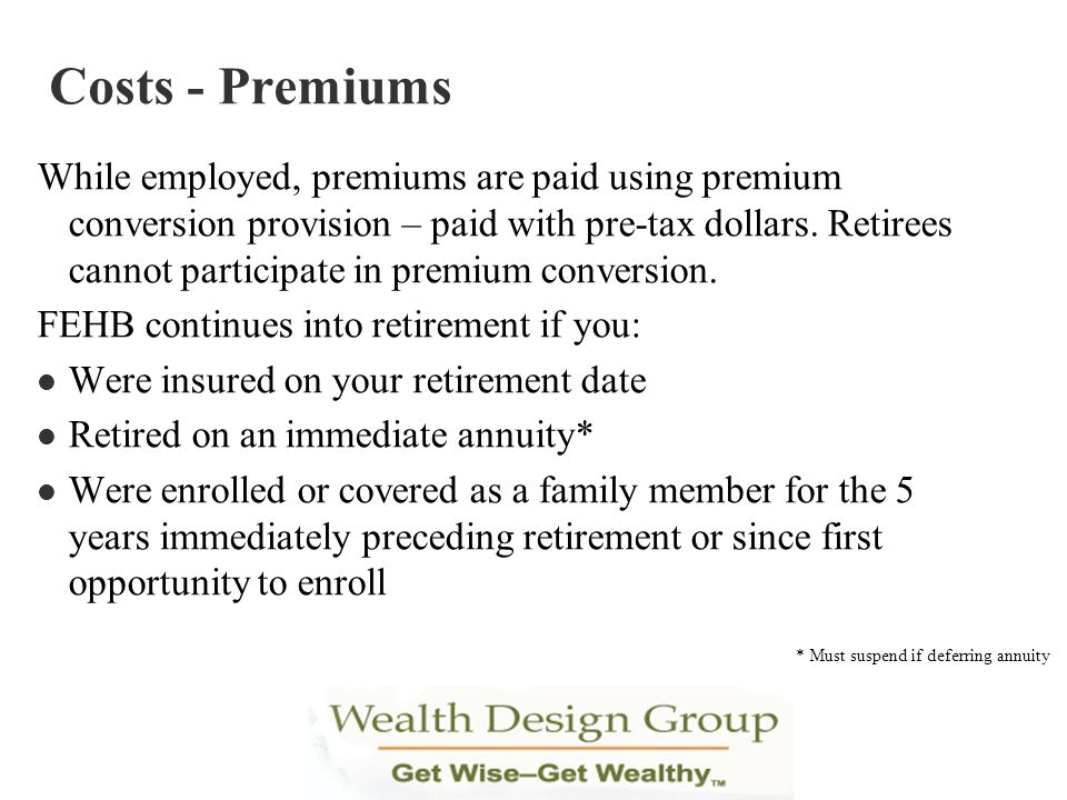 Costs - Premiums