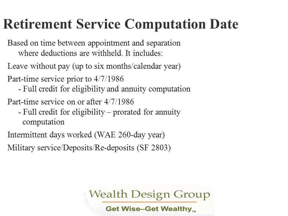Retirement Service Computation Date