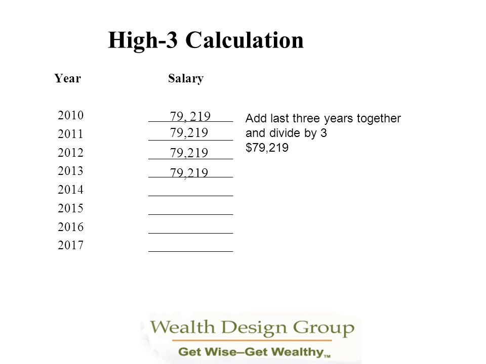 High-3 Calculation 79, ,219 79,219 79,219 Year Salary