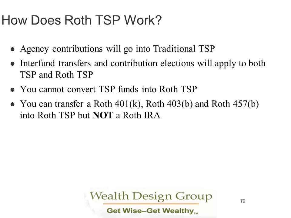 How Does Roth TSP Work Agency contributions will go into Traditional TSP.