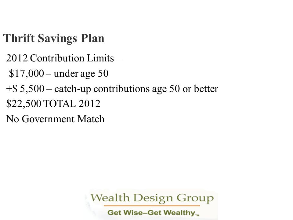 Thrift Savings Plan 2012 Contribution Limits – $17,000 – under age 50