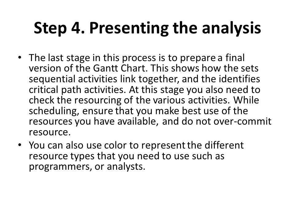 Step 4. Presenting the analysis