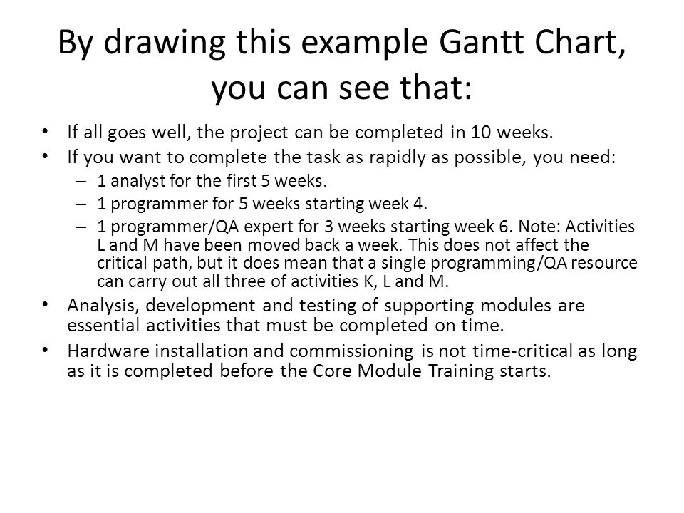 By drawing this example Gantt Chart, you can see that: