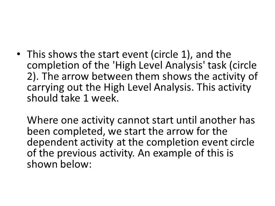 This shows the start event (circle 1), and the completion of the High Level Analysis task (circle 2).