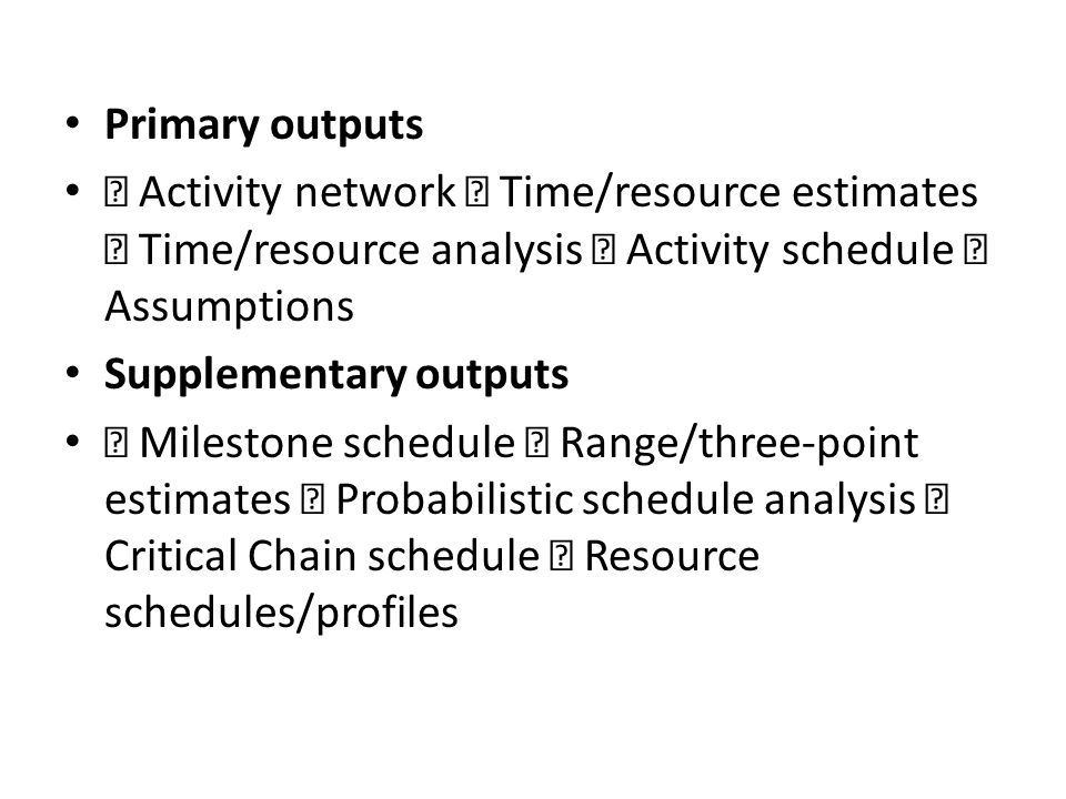 Primary outputs  Activity network  Time/resource estimates  Time/resource analysis  Activity schedule  Assumptions.