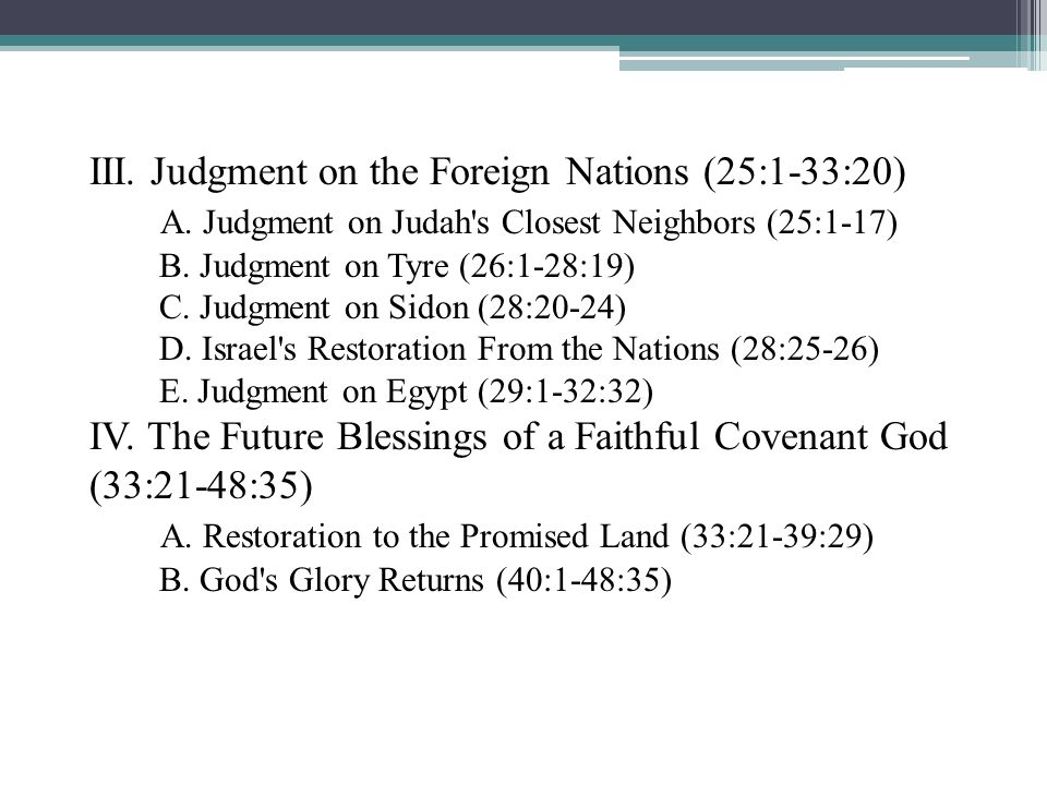 III. Judgment on the Foreign Nations (25:1-33:20)