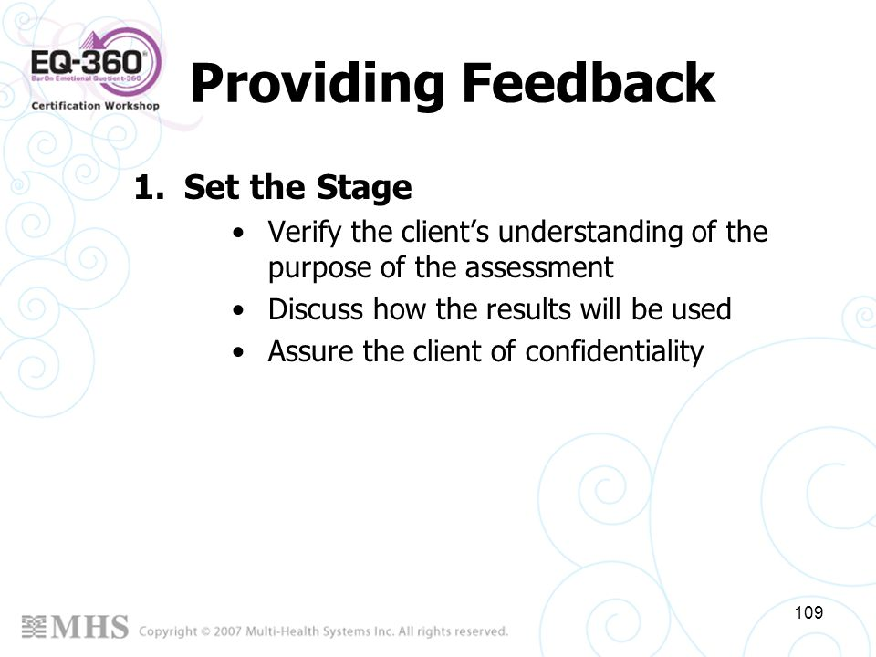 Providing Feedback Set the Stage