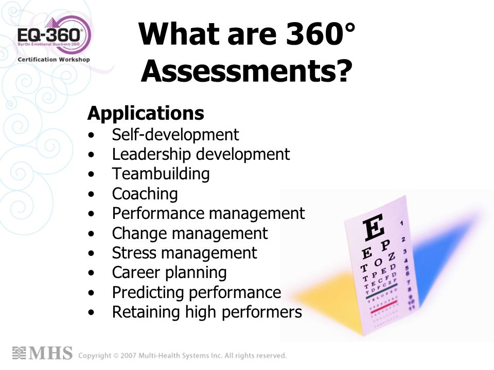 What are 360° Assessments Applications Self-development