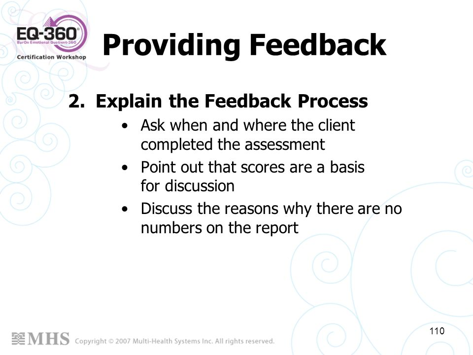 Providing Feedback Explain the Feedback Process
