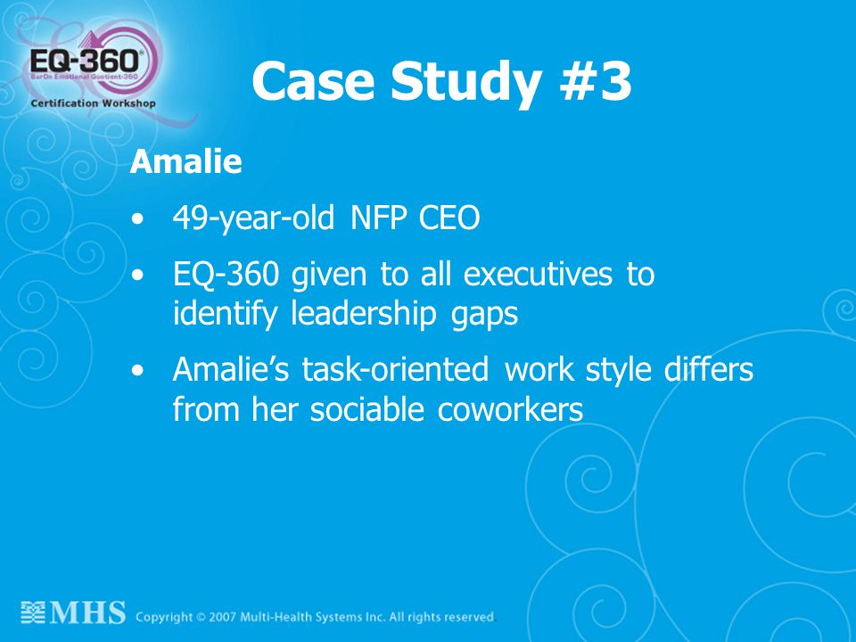 Case Study #3 Amalie 49-year-old NFP CEO