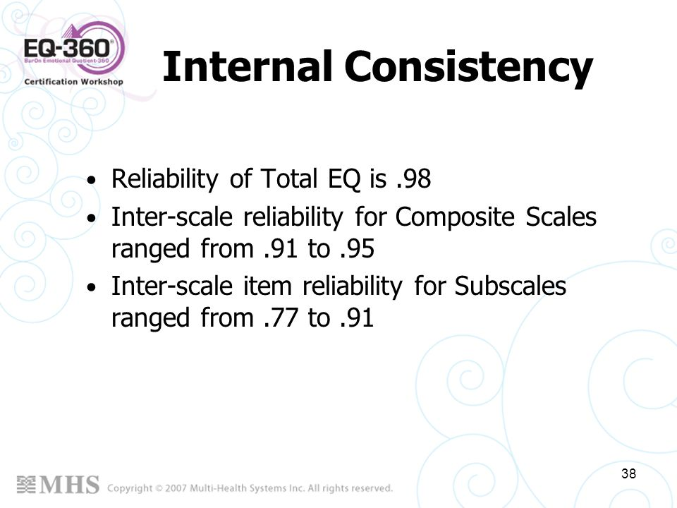Internal Consistency Reliability of Total EQ is .98
