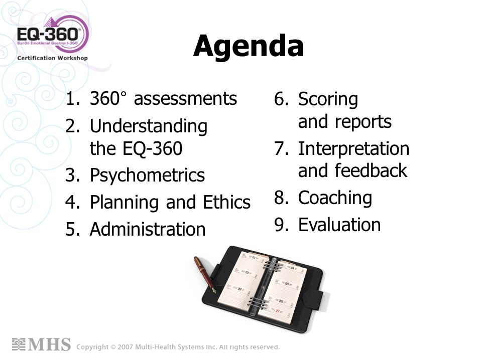 Agenda 360° assessments Understanding the EQ-360 Psychometrics