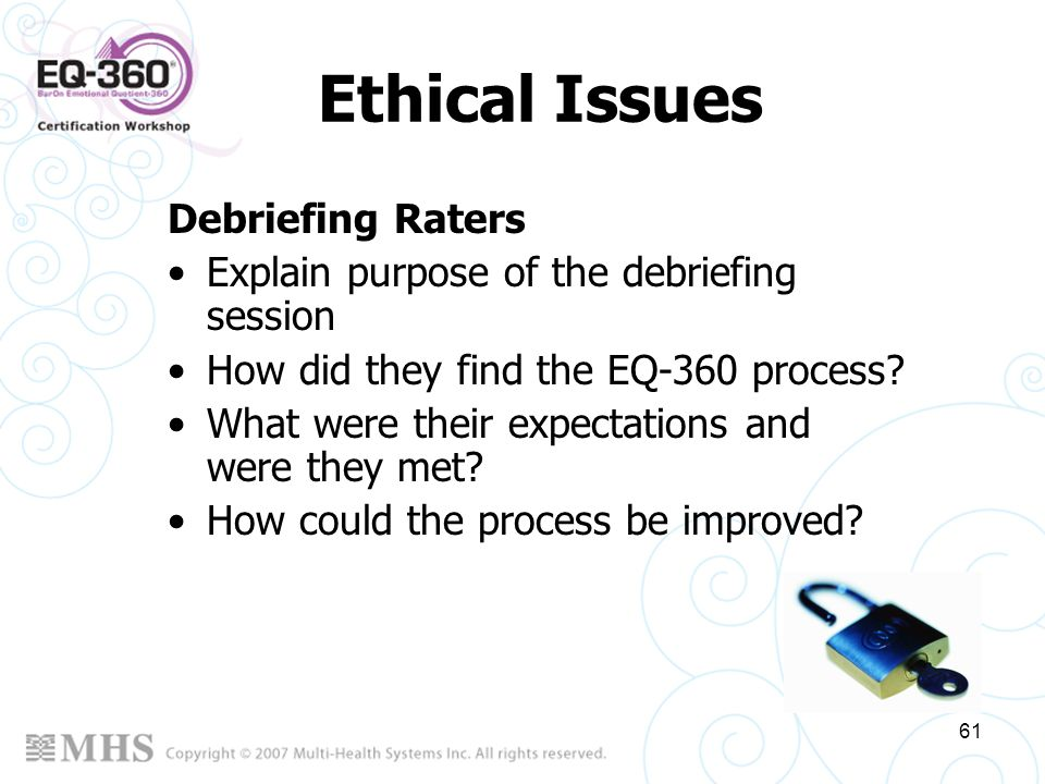 Ethical Issues Debriefing Raters