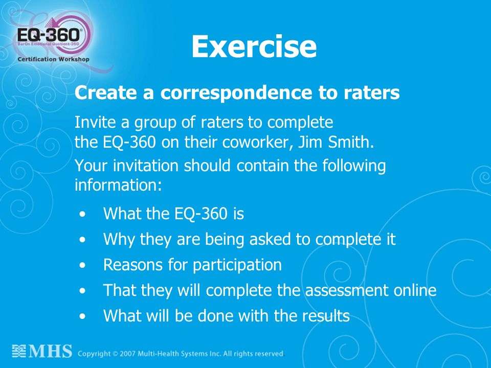 Exercise Create a correspondence to raters