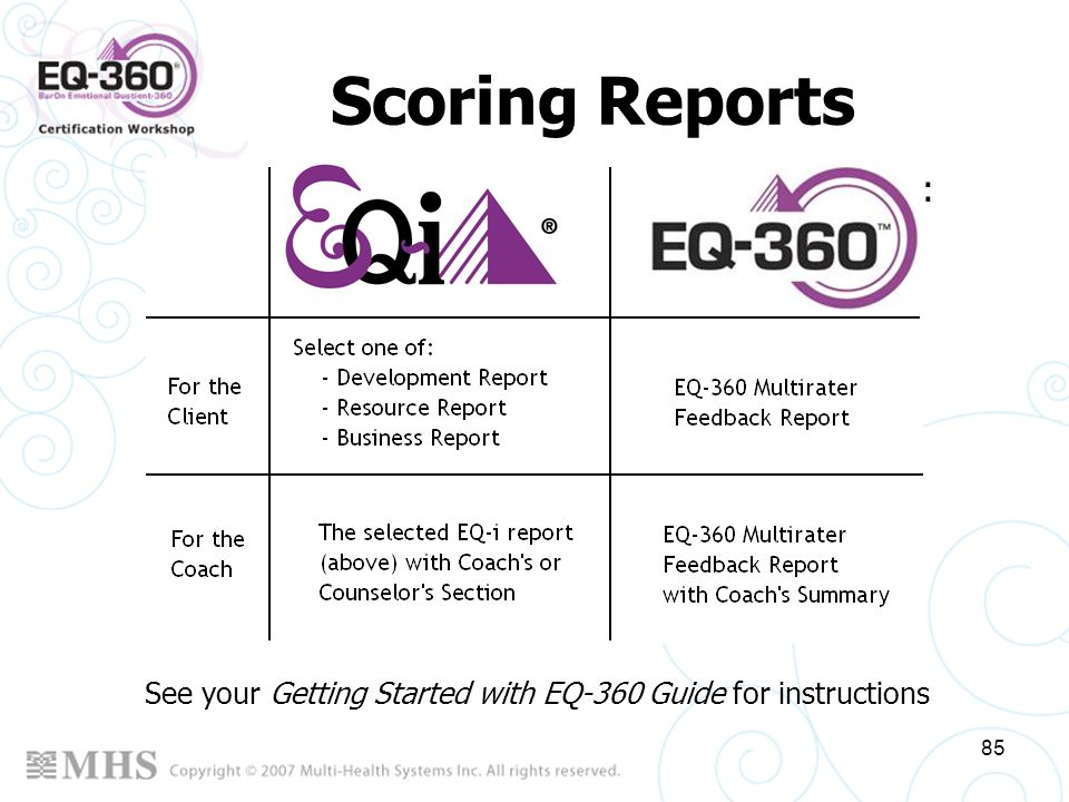 Scoring Reports Scoring generates 2 EQ-i and 2 EQ-360 reports: