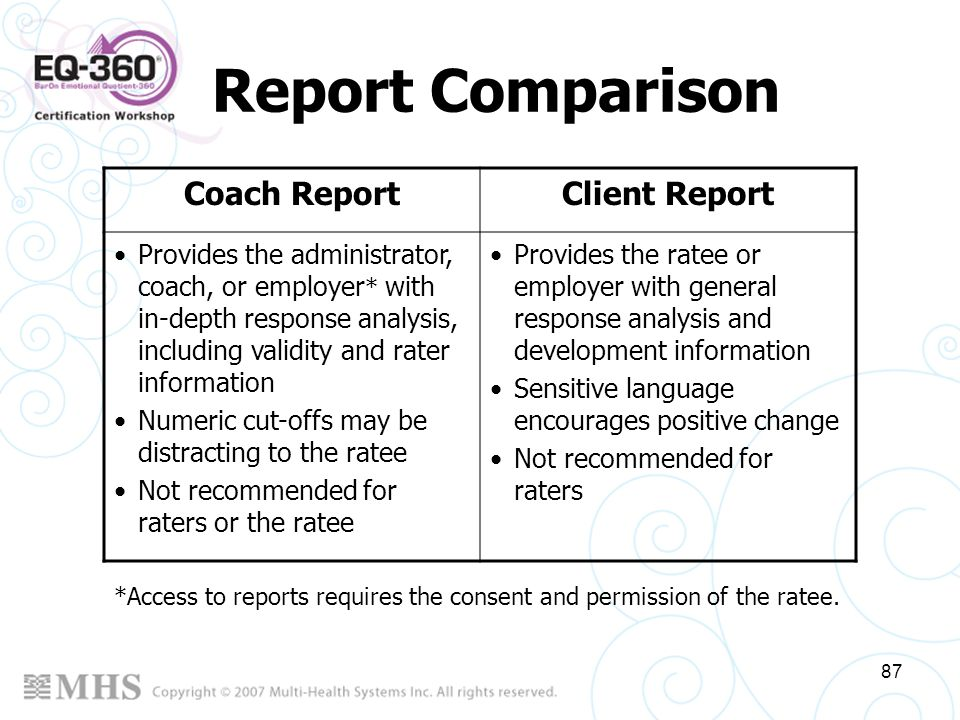 Report Comparison Coach Report Client Report