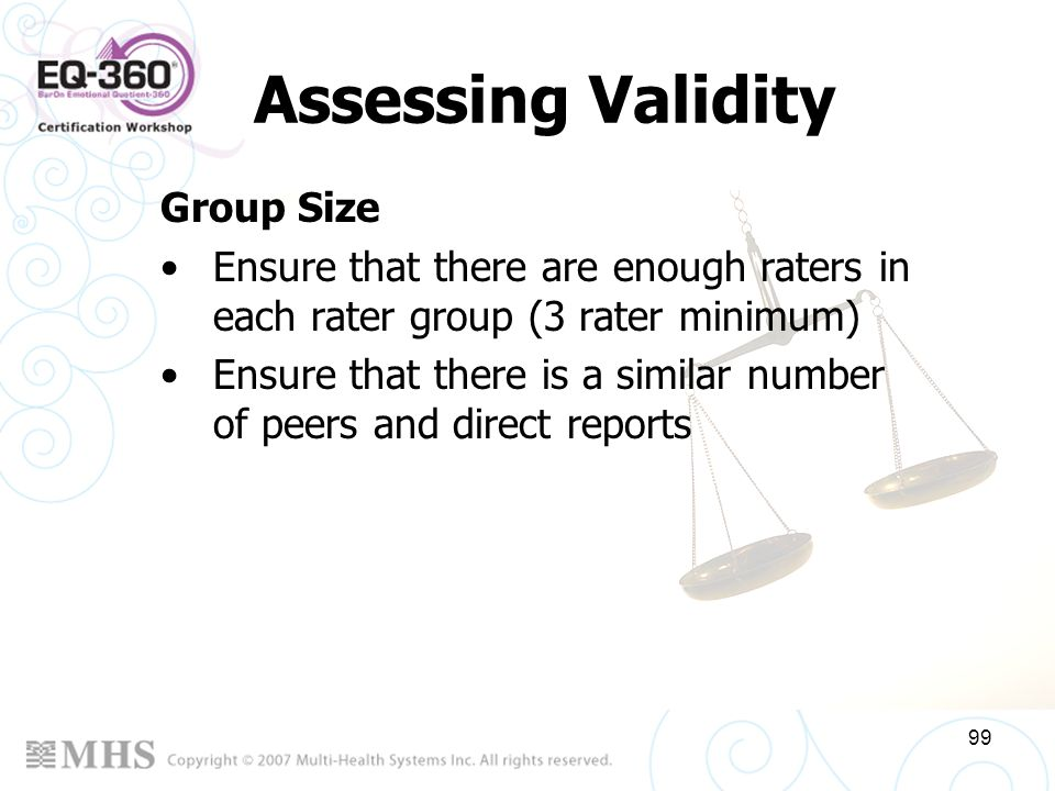 Assessing Validity Group Size