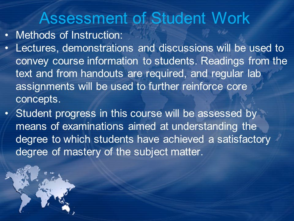 Assessment of Student Work